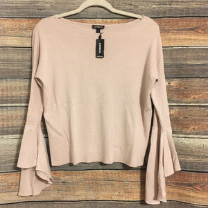 Express blush pink bell sleeve sweater